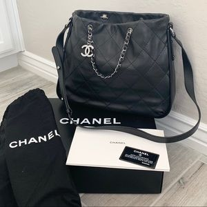 Chanel Quilted Black Lambskin Hobo Bag